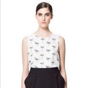 Zara Mosaic Flamingo Sleeveless Sheer Top